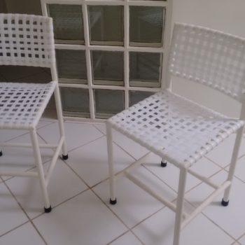 Cadeiras de Jantar em Fita Sintética Branca